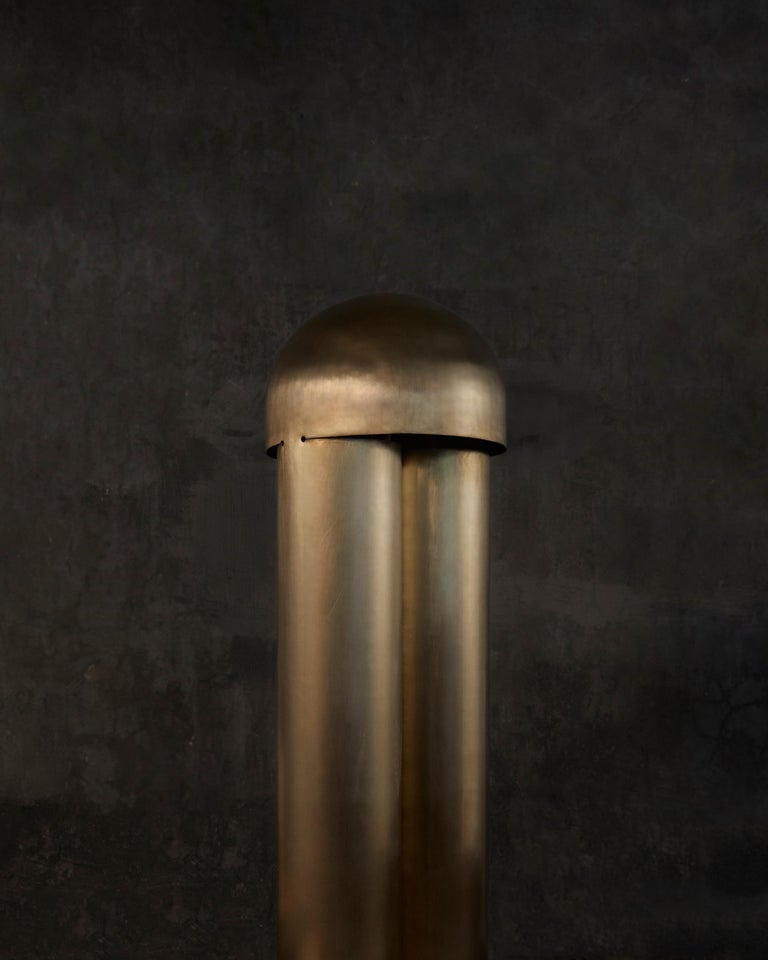 Monolith Silvered Brass Sculpted Table Lamp by Paul Matter For Sale 7