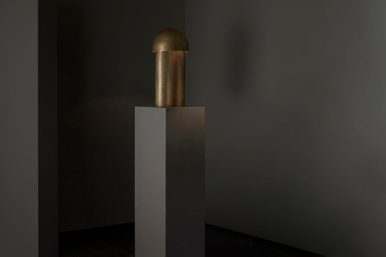 Monolith Silvered Brass Sculpted Table Lamp by Paul Matter For Sale 8