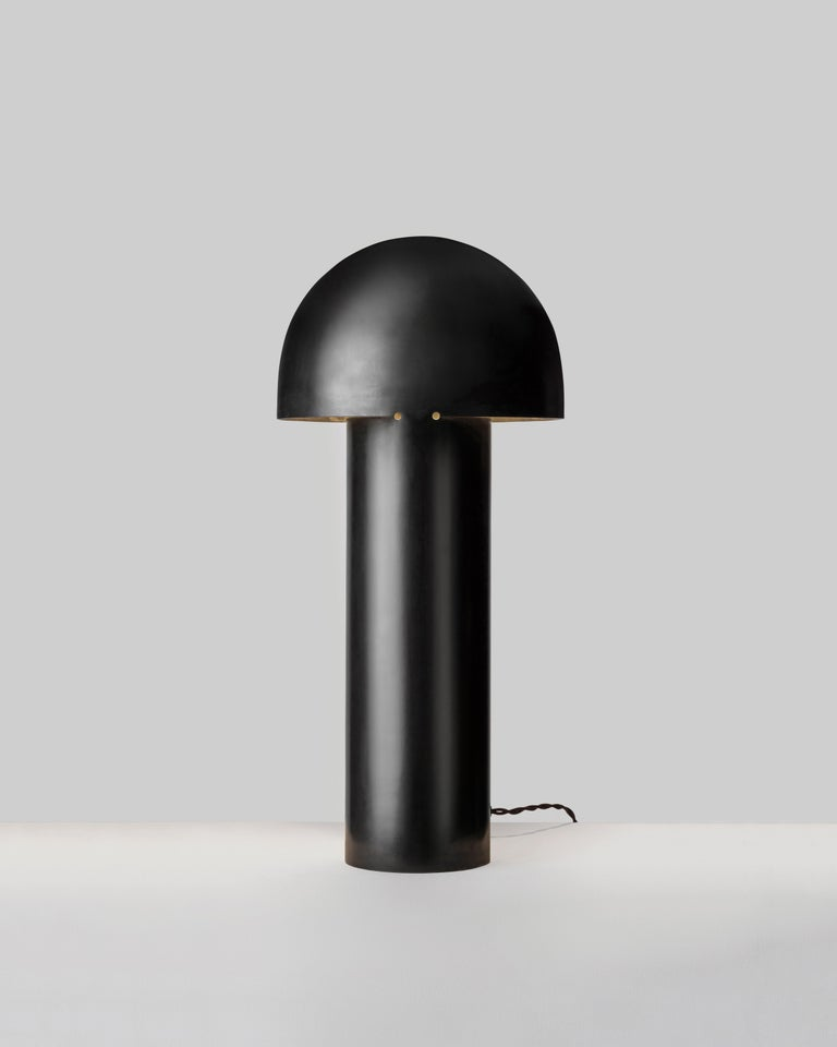 Monolith Silvered Brass Sculpted Table Lamp by Paul Matter For Sale 11