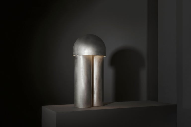 Modern Monolith Silvered Brass Sculpted Table Lamp by Paul Matter For Sale