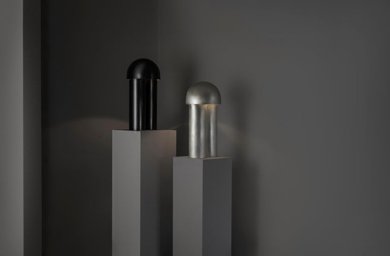 Contemporary Monolith Silvered Brass Sculpted Table Lamp by Paul Matter For Sale