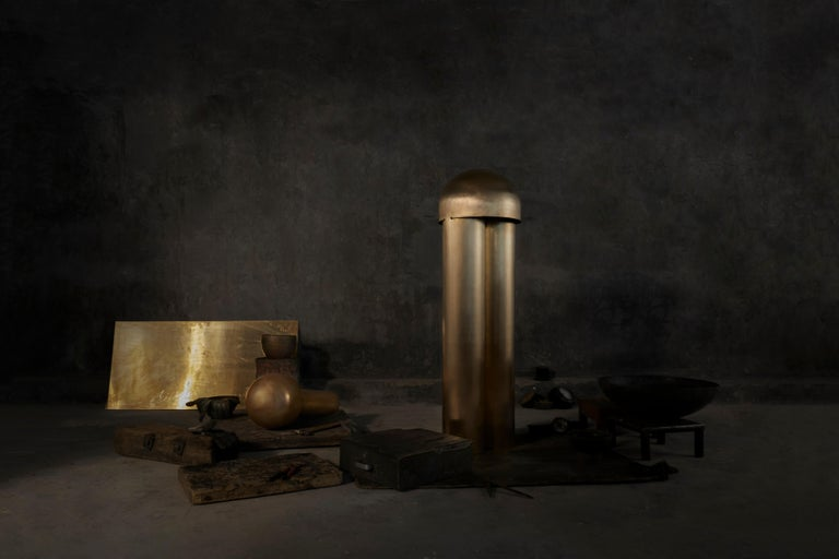 Monolith Silvered Brass Sculpted Table Lamp by Paul Matter For Sale 3