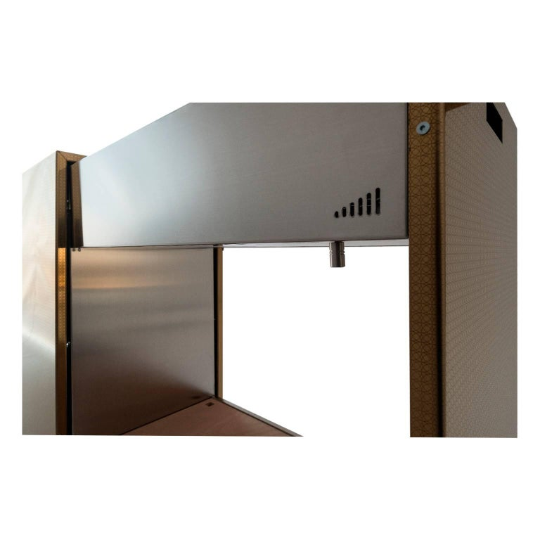 Modern Charcoal BBQ with Cupboards and Extractable Grills, Snail Gold For Sale