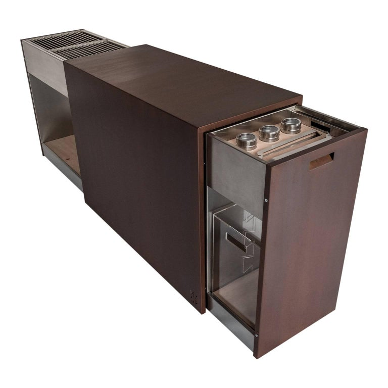 Modern Elegant Corten Outdoor Charcoal Barbecue with Shelves and Cupboards, Snail For Sale