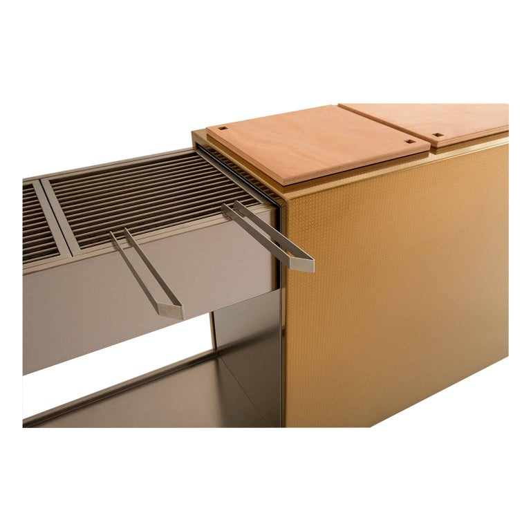 Italian Charcoal BBQ with Cupboards and Extractable Grills, Snail Gold For Sale
