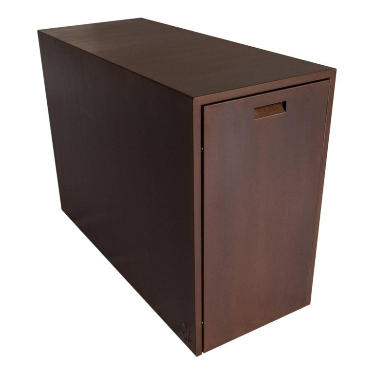 Italian Elegant Corten Outdoor Charcoal Barbecue with Shelves and Cupboards, Snail For Sale