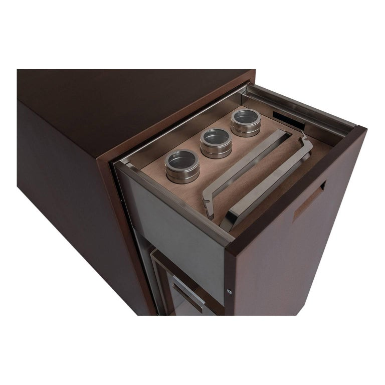 Brushed Elegant Corten Outdoor Charcoal Barbecue with Shelves and Cupboards, Snail For Sale