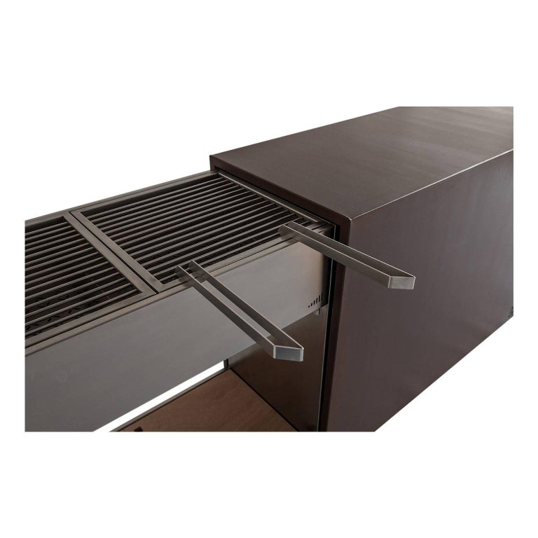 Elegant Corten Outdoor Charcoal Barbecue with Shelves and Cupboards, Snail In New Condition For Sale In Palermo, IT