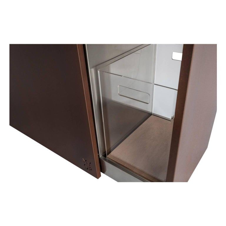 Contemporary Elegant Corten Outdoor Charcoal Barbecue with Shelves and Cupboards, Snail For Sale