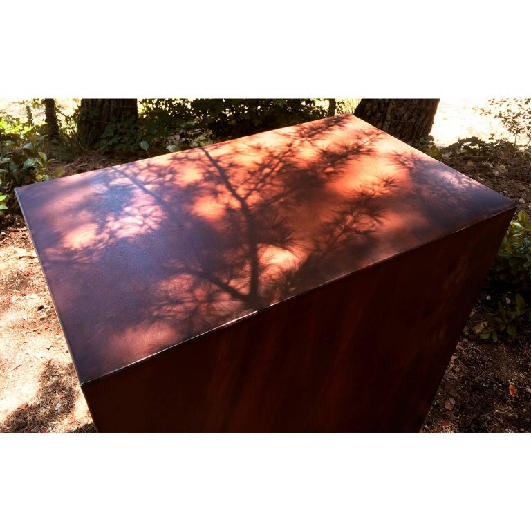 Steel Elegant Corten Outdoor Charcoal Barbecue with Shelves and Cupboards, Snail For Sale