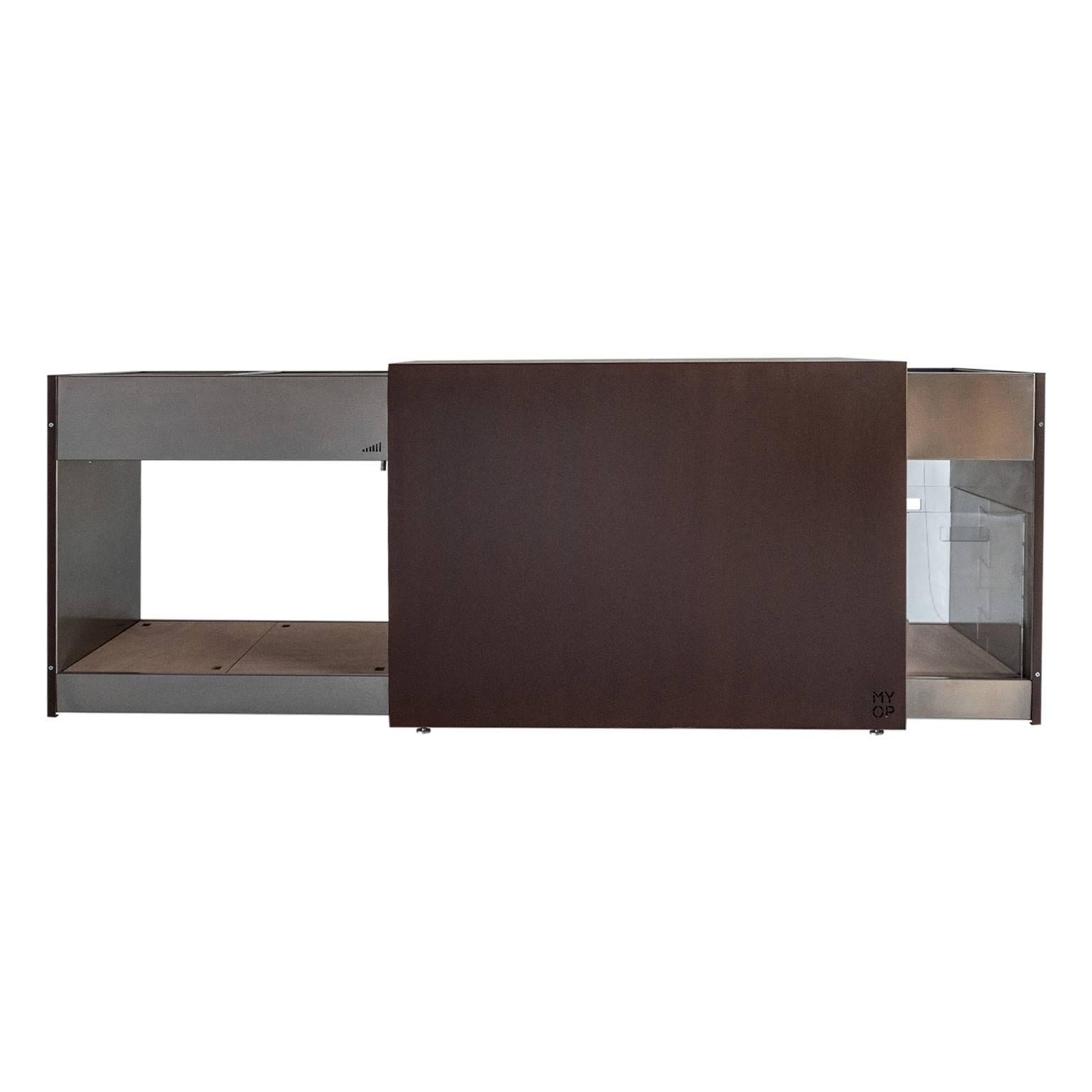 Elegant Corten Outdoor Charcoal Barbecue with Shelves and Cupboards, Snail