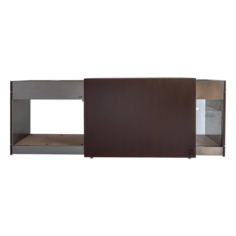 Elegant Corten Outdoor Charcoal Barbecue with Shelves and Cupboards, Snail For Sale