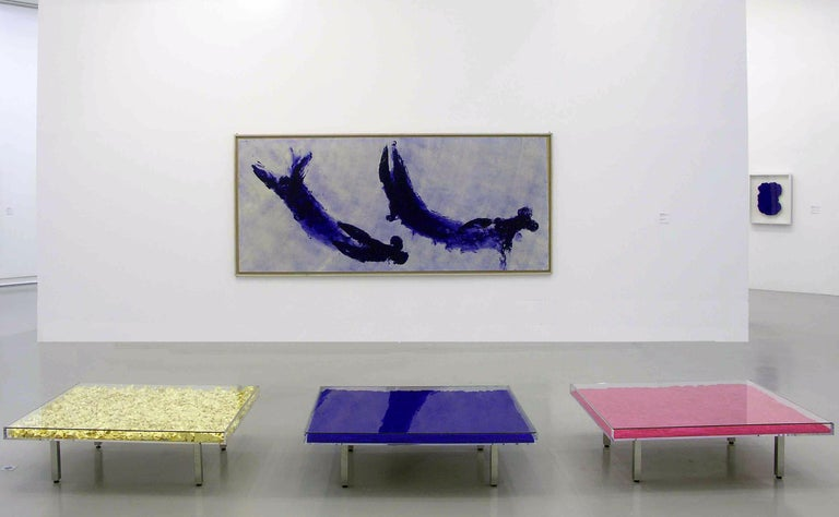 This work is from an edition begun in 1963, under the supervision of Rotraut Klein-Moquay, France, based on a 1961 model by Yves Klein. The table is accompanied with a signed and numbered placard of authenticity.   Yves Klein  Monopink