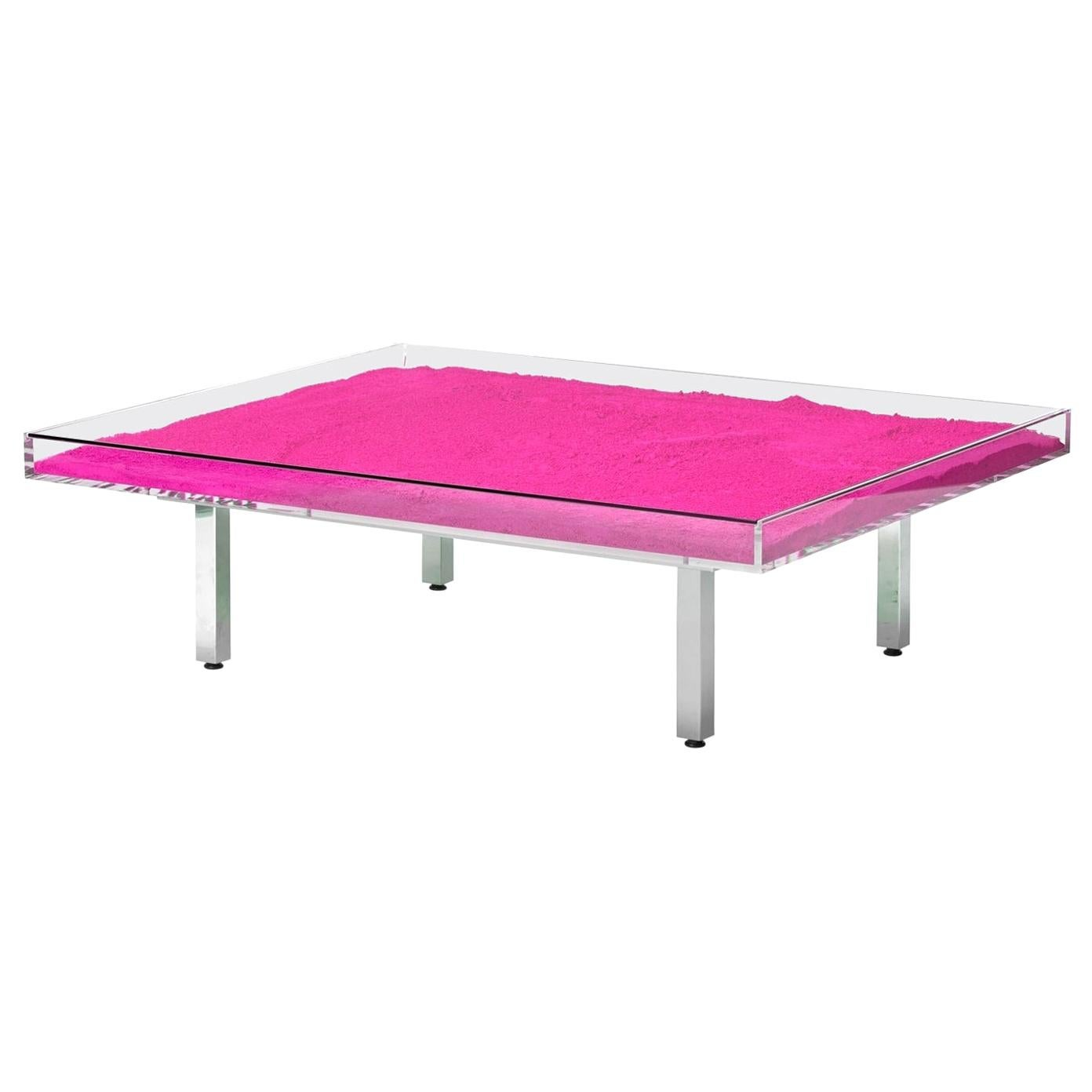 """In Stock in Los Angeles, Yves Klein Pink """"Monopink"""" Glass Table, Made in France"""