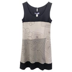 Minimalist black gray printed silk tank dress