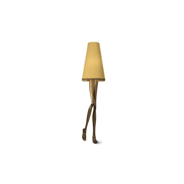 Mid-Century Modern 21st Century Monroe Floor Lamp Aged Brass Cast, Lampshade with Tassel Fringe For Sale