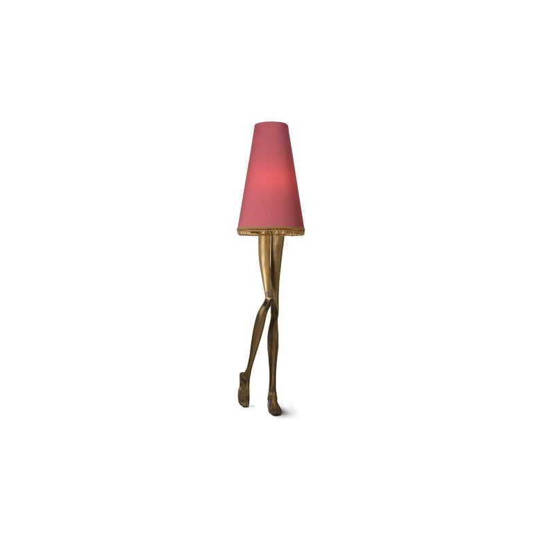 Polished 21st Century Monroe Floor Lamp Aged Brass Cast, Lampshade with Tassel Fringe For Sale