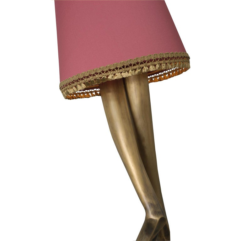 21st Century Monroe Floor Lamp Aged Brass Cast, Lampshade with Tassel Fringe In New Condition For Sale In Oporto, PT