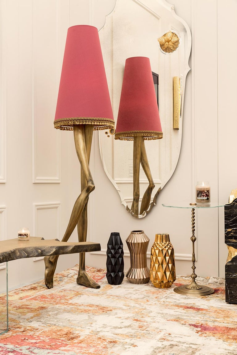 Contemporary 21st Century Monroe Floor Lamp Aged Brass Cast, Lampshade with Tassel Fringe For Sale