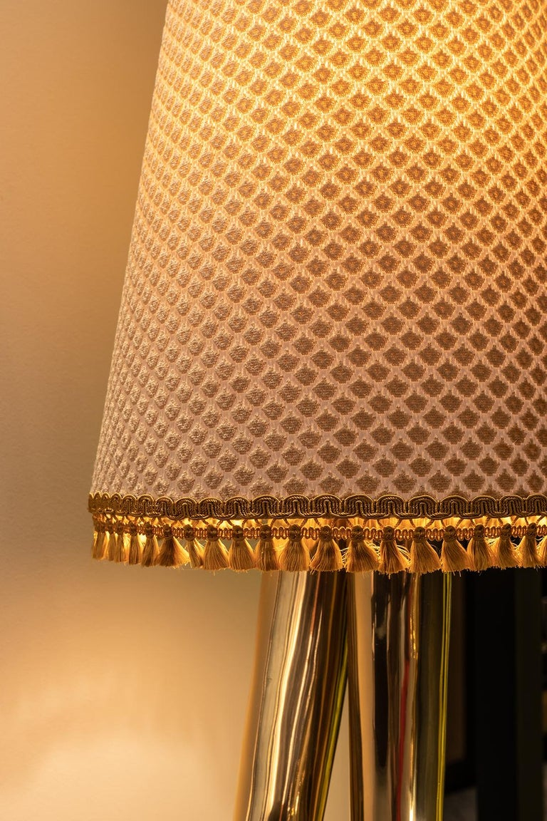 21st Century Monroe Floor Lamp Polished Brass Cast, Lampshade with Tassel Fringe For Sale 4