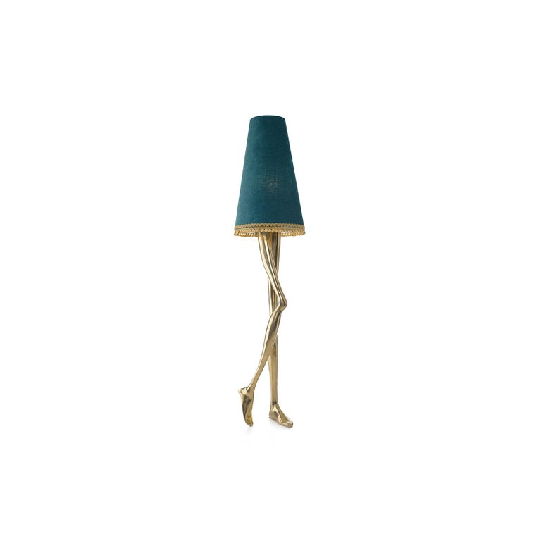 """1. Product description:  The """"Monroe"""" floor lamp is made of polished brass cast with a blue lampshade adorned by a gold tassel fringe complementing the set. After smelting, a process known for thousands of years widely used in brass and bronze"""