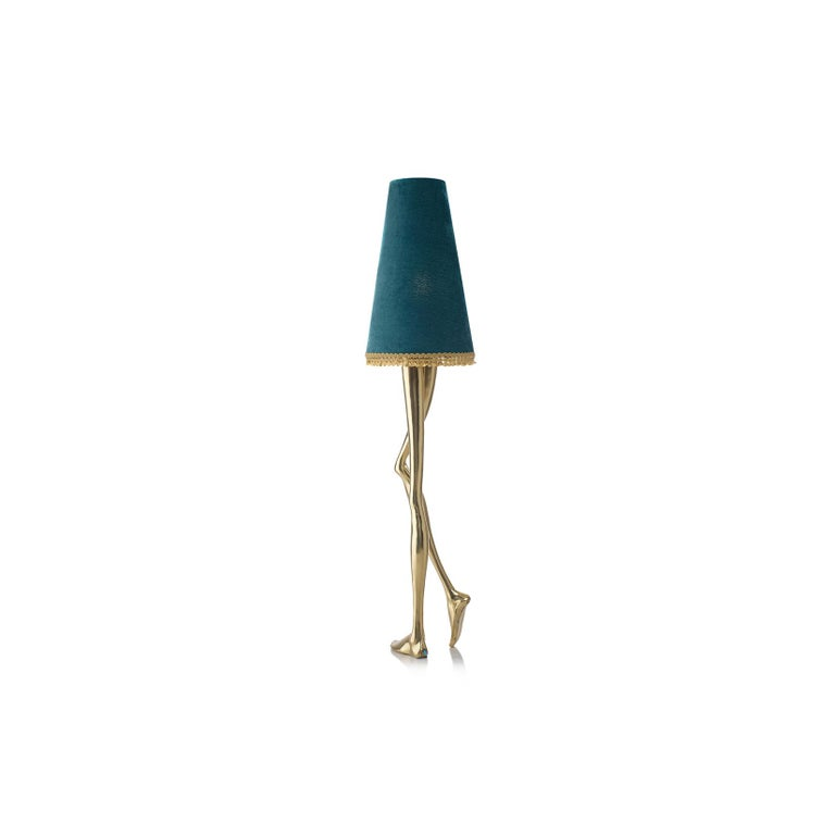 Mid-Century Modern 21st Century Monroe Floor Lamp Polished Brass Cast, Lampshade with Tassel Fringe For Sale