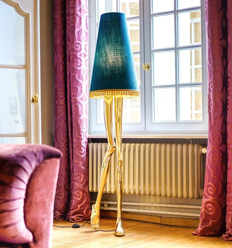 Contemporary 21st Century Monroe Floor Lamp Polished Brass Cast, Lampshade with Tassel Fringe For Sale