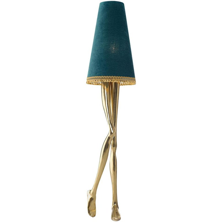 21st Century Monroe Floor Lamp Polished Brass Cast, Lampshade with Tassel Fringe For Sale