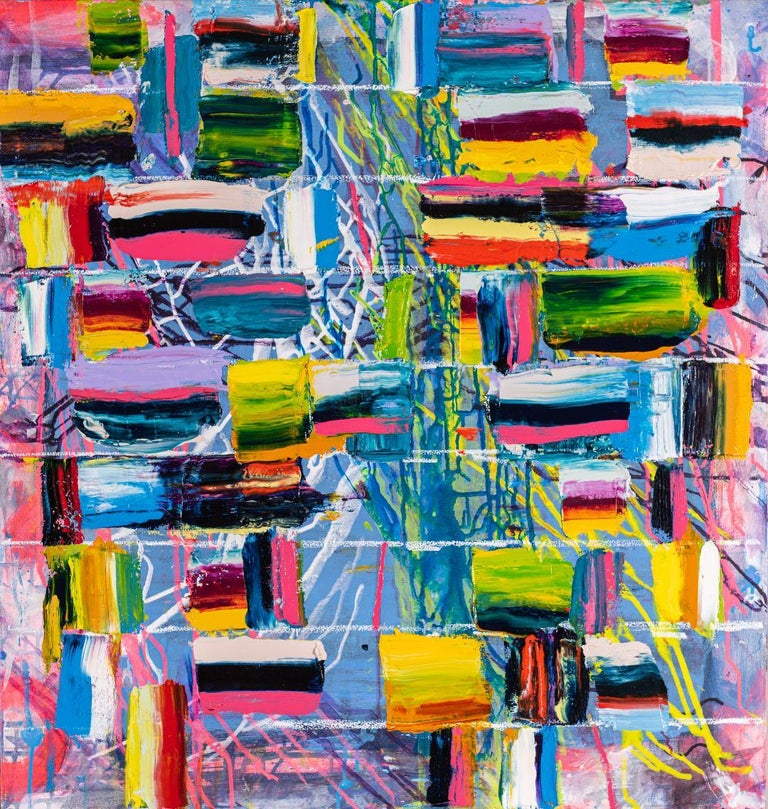 Monroe Hodder Abstract Painting - Both Sides Now, bold bright colorful abstract, patterns,