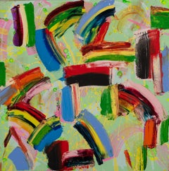 Dance Steps, bold bright colorful abstract, rainbow-like arc patterns greens