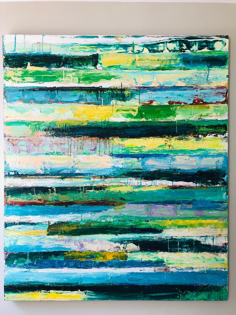 Green Revolution-Monroe Hodder, American, Abstract, Juxtapositions, Bold, Modern - Black Abstract Painting by Monroe Hodder