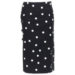 """MONSE black white polka dot stif cotton button side pencil skirt US0 26"""""""