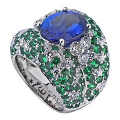 Monseo 6.07 Carat Tanzanite Tsavorites and Diamond Cocktail Ring