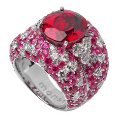 Monseo 9.97 Carat Rubellite, Pink Sapphire and Diamond Cocktail Ring