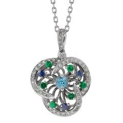 Monseo Blue Topaz, Blue Sapphire, Tsavorite and Diamond Flower Gold Necklace