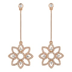 Monseo Diamond Rose Gold Long Earrings