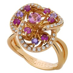 Monseo Pink Sapphire, Purple Sapphires Diamond Flower Gold Ring