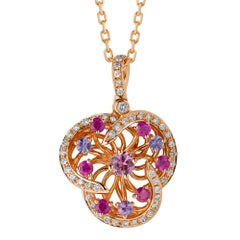 Monseo Pink Sapphire, Purple Sapphires Diamond Floral Rose Gold Necklace