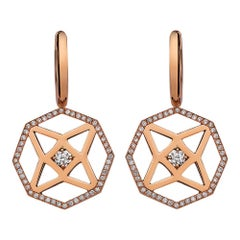 Monseo Rose Gold Diamond Octagon Shape Earrings