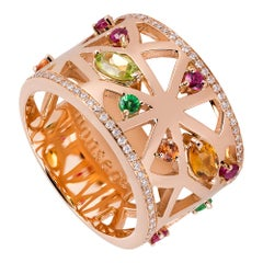 Monseo Rose Gold Peridot, Ruby, Orange Sapphire, Tsavorite and Quartz Band Ring
