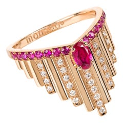 Monseo Rose Gold Ruby and Diamonds Art Deco Cocktail Ring