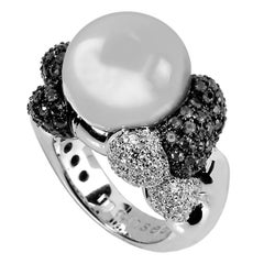 Monseo South Sea Pearl Diamond White Gold Cocktail Ring