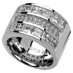 Monseo Triple Line Diamond Large White Gold Ring