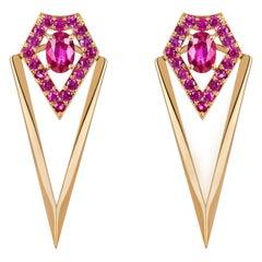 Monseo Yellow Gold Rubies Detachable Earrings