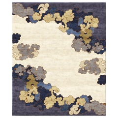 Monsoon Season Gold, Blue Beige Designer Hand Knotted Wool Silk Rug