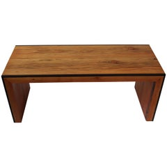 Monster Island Coffee Table Bench in Reclaimed Fir, Edged in Wengue - in stock