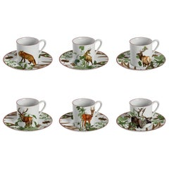 Mont Blanc, Coffee Set with Six Contemporary Porcelains with Decorative Design