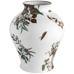 Mont Blanc, Contemporary Porcelain Vase with Decorative Design by Vito Nesta