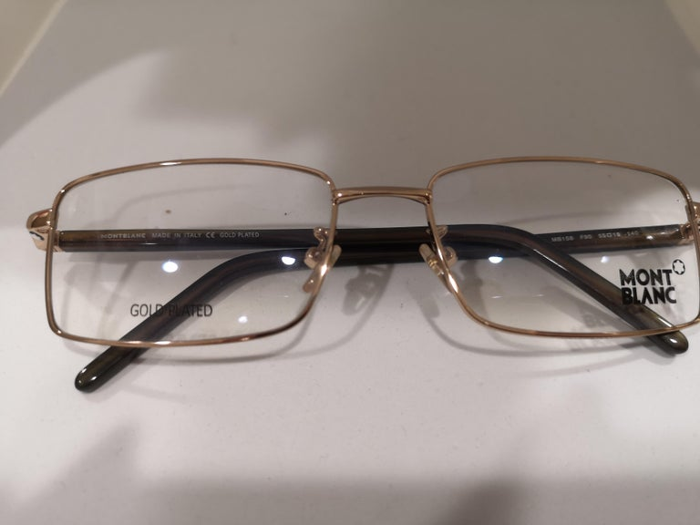 Gray Mont Blanc gold plated glasses frames  For Sale