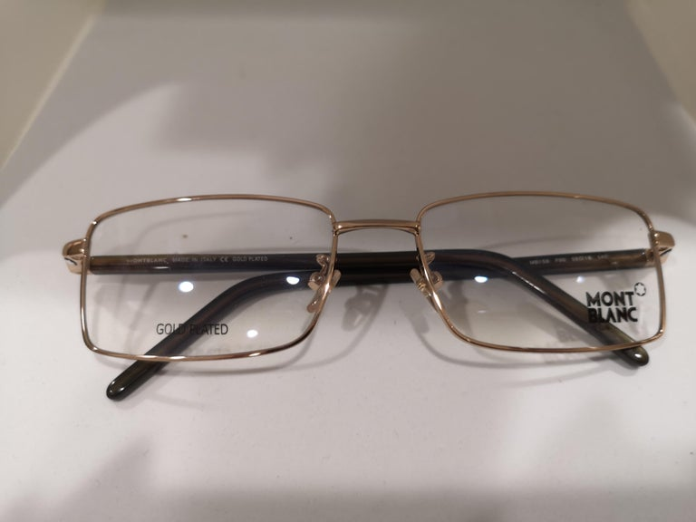 Mont Blanc gold plated glasses frames  In Excellent Condition For Sale In Capri, IT